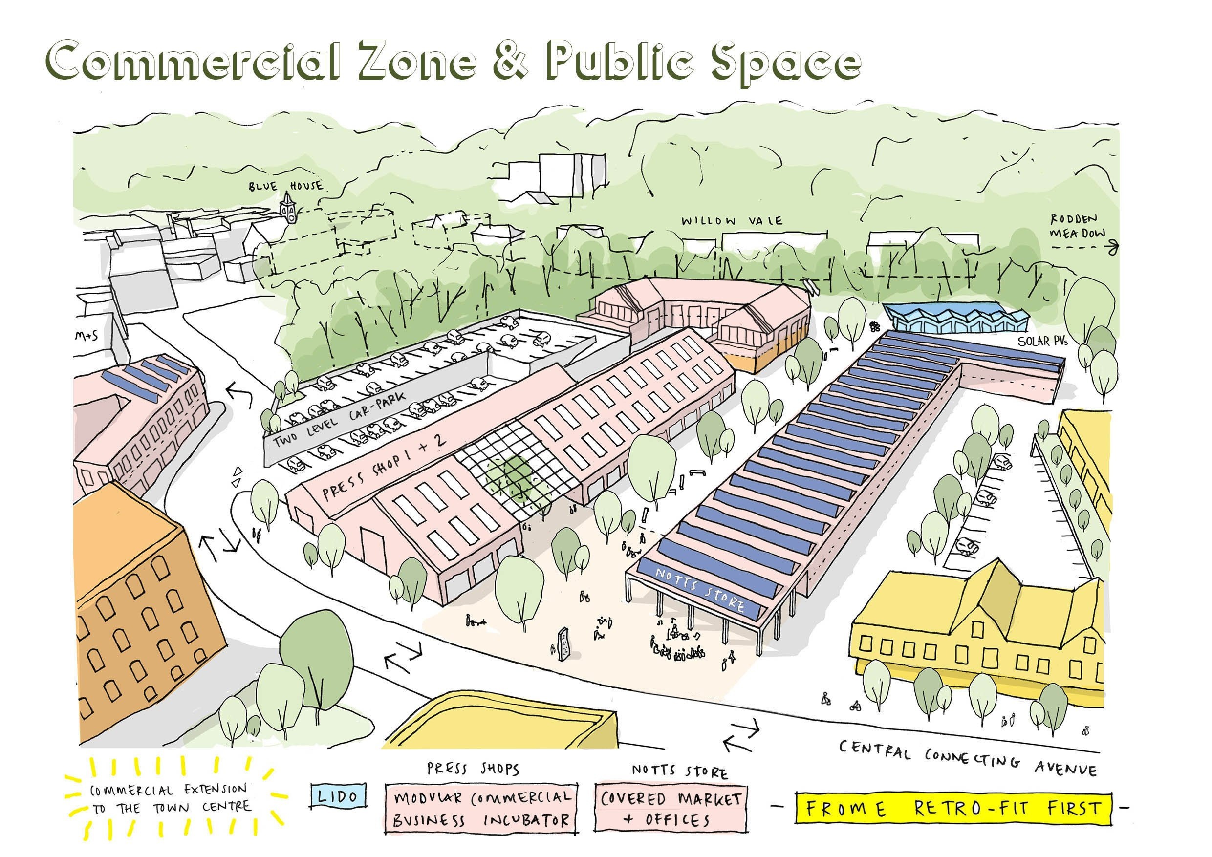 commercial zone and public spaces mayday saxonvale frome