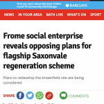 SomersetLive- Frome Social Enterprise Reveals Opposing Plans for flagship Saxonvale regeneration scheme