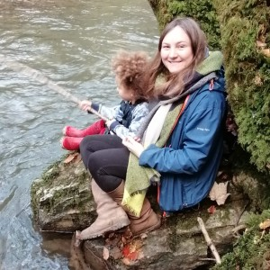 Chloe Jones, Community and Engagement Officer Mayday Saxonvale, fishing with her son in Frome