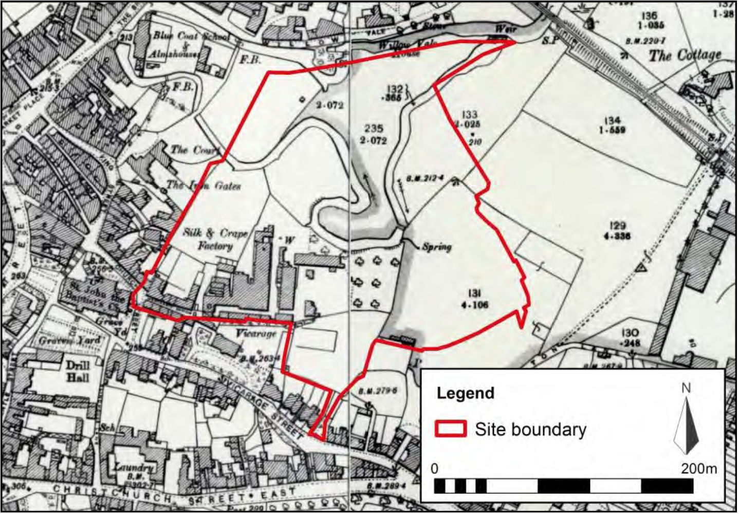 Here is a 1904 map of how Saxonvale looked after the silk textile industry came to Frome.